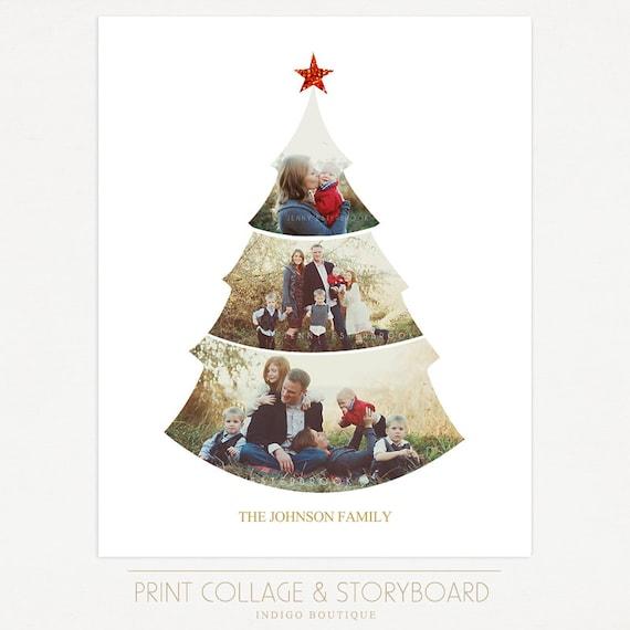 Árbol de Navidad plantilla de Collage 16 x 20 imprimir
