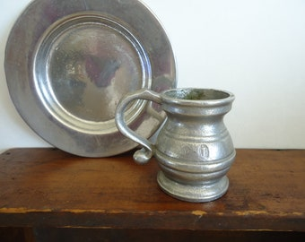 Vintage Pewter collectible small mug and plate old antique pewter colonial home decor & Country Primitives Rustic Vintage Decor and supplies by RaggedyRee
