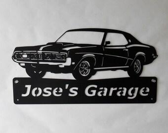 1969 Mercury Cougar- Personalized - Man Cave -Garage Sign- Car Art- Metal Art - Automotive Wall Decor- Satin Black