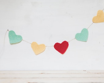 Garland with hearts coral, Teal and yellow