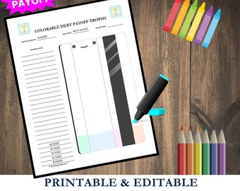 Debt payoff colorable, credit card debt, printable planner, debt payoff tracker, colorable planner, debt tracker, financial planner, payoff