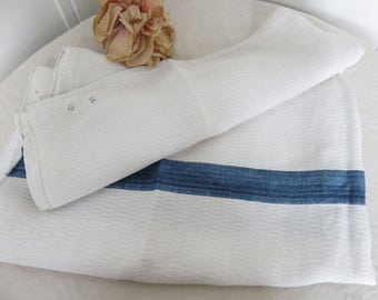 Large Vintage French Linen Torchon, White & Denim Blue Stripe Fabric, French Country Textiles, Country Home Living, Hand Embroidery Monogram