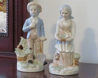 Vintage 1980s Glazed Ceramic Old Farm Couple Figurines Made in Taiwan Cozy Country Cottage Farmhouse Decor