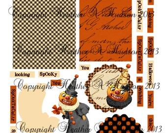 Vintage Halloween Pumpkin Clowns Tags  Digital Collage sheets Printables