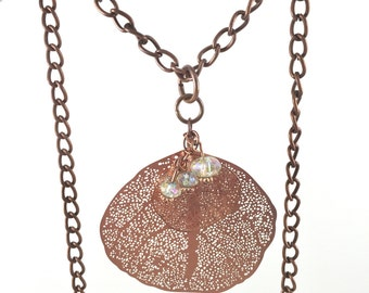 Dainty layering necklace - Filigree Leaf Necklaces - Copper leaf necklace  - Leaf necklace