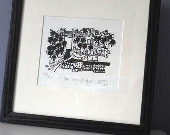 Suspension Bridge - Bristol lino cut print, printmaking, linoprint, art, city, handmade, black and white, monochrome,  river,