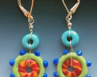 Circus Earrings in turquoise, lime, orange & periwinkle: handmade glass lampwork beads with sterling silver components