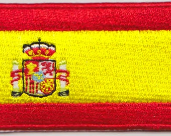 Small Spain Flag Iron On Patch 2.5 x 1.5 inch Free Shipping