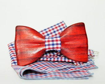 Bow tie from oak wood. Mens wooden bow tie with pocket square. Bow tie from wood. Handmade bowtie. Wooden tie.