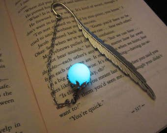 Feather bookmark glow in the dark