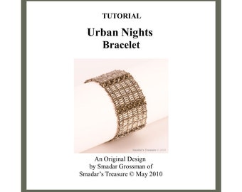 Beading Tutorial Pattern,Urban Nights Bracelet. Beading Pattern with Delica Cylinder Beads and Crystals. Digital Download PDF File, Beadwork
