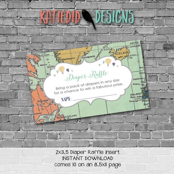 Travel Themed oh the places you'll go baby shower diapers for dad Adventure Awaits Diaper raffle insert enclosure card 1466 Katiedid Designs