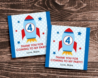Personalized Space Rocket Party Favor Tags or Stickers – DIY Printable (Digital File)