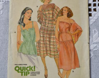 Vintage Butterick 6104 Sewing Pattern Misses Dress Top Shawl Size 6 8 DIY Sewing Crafts PanchosPorch