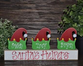 Santa's Elves Christmas Decor Personalized Elf Hat Family Block Set-Personalized Grandma Gift Christmas Decoration Personalized Holiday