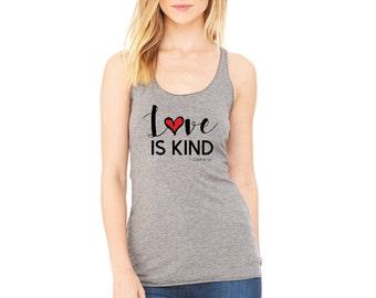 "Ladies, Grey ""Love is Kind, 1 Corin 13"" Tri Blend Racerback Tank"