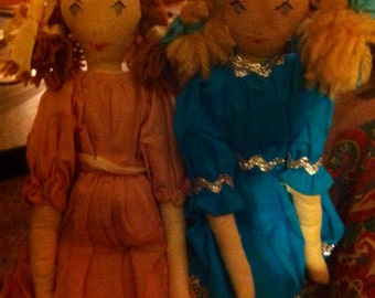 Handmade, Antique Fabric Dolls, Reduced!