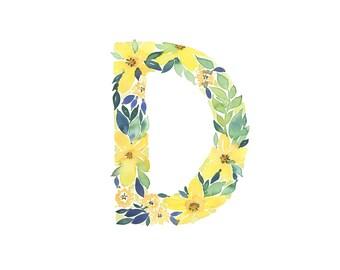 Watercolor alphabet, Letter D print, Initial D, Watercolor Monogram, Nursery Decor, Watercolor letter, First Initial Art Print, Floral 8x10