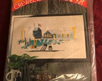 Vintage—1971–Pauline Denham—Seascape—Crewel Embroidery—Kit—Sealed