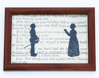 Classic Literature - Shakespeare's Much Ado About Nothing Silhouette Framed Embroidery Illustration.