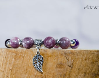 "Bracelet ""The sky at sunset"". Material. Mineral Lepidolite, Amethyst, Freshwater Pearl."
