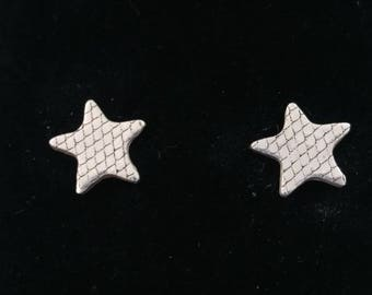 Textured Silver Clay Star earrings