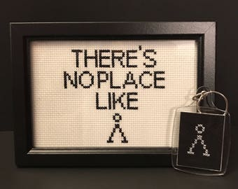There's No Place Like Home Stargate SG1 Inspired Cross Stitch Picture and Keychain Geek Gift Sci-fi Gift Keyring Fibre Art