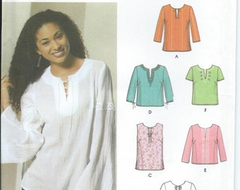 Pullover Tunic or Top Sleeveless Bell Sleeves Short Sleeve Variations Simplicity Sewing Pattern 5684 Misses' Size 8-14