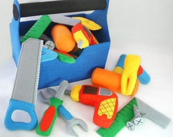DIY Felt ToolBox(toolbox,Drill,Screwdriver,wrench,screw,Saws,Square,Hammer)-T09