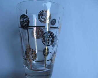 Vintage Juice Glass - Coin Decoration -only  1 left