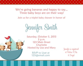 Triplets baby shower -  triplet baby shower invitation -  monkey baby shower invitation