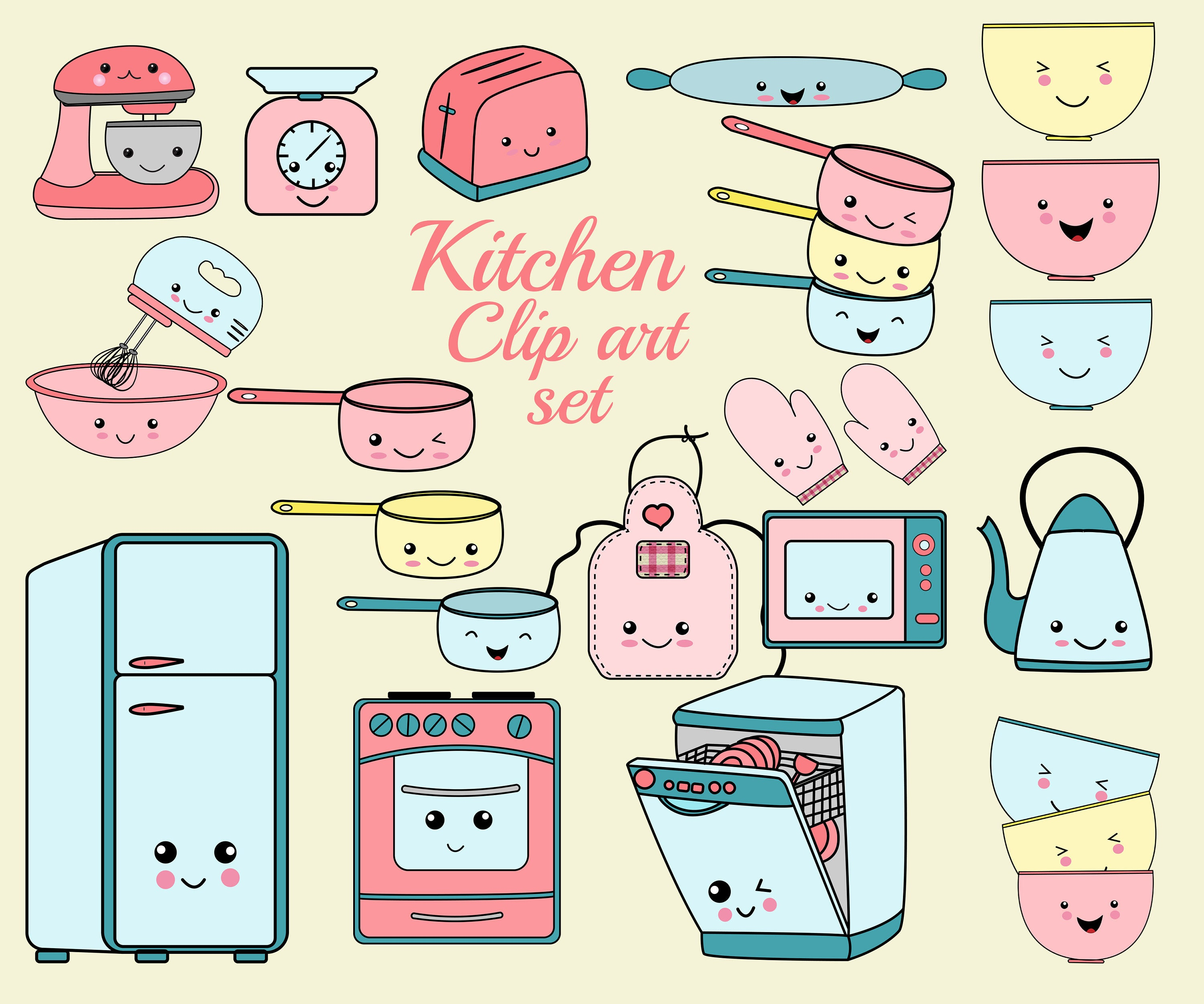 Kawaii Kitchen Clip Art: KITCHEN CLIPART SET