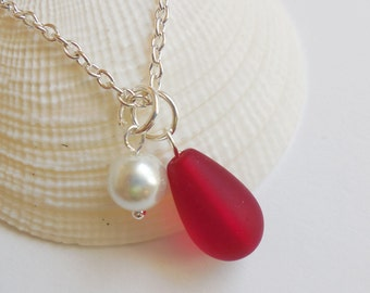 Cherry Red Sea Glass Necklace, Beach Glass Necklace, Sea Glass Jewelry, Beach Glass Jewelery, Bridesmaid necklace, Free Shipping in US