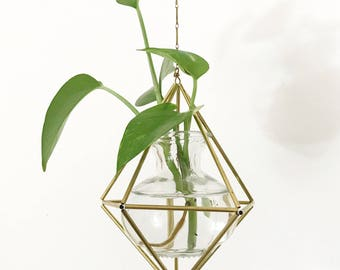Geometric Himmeli Vase Mobile. Vase Ornament Decoration Hanging Plant.  Decorative Propagation Vessel. Geometric