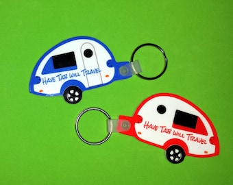 Personalized Tab Original Trailer Key Tag, Teardrop Trailer Key Fob, Customized Vintage Happy Camper Key Chain, Custom Happy Tabber Key Ring