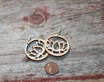 Small Wood Cut Lotus Earrings - light weight, surgical steel ear wires, yogie gift, birthday gift, yoga jewelry, yoga earrings, laser cut