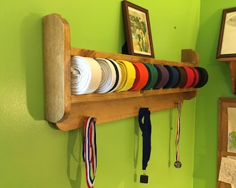 Rounded Edge Martial Arts Belt and Trophy Display