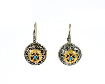 TURQUOISE GOLD PLATED 14K 925 Silver Byzantine  Earrings