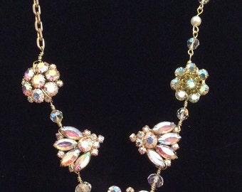 Dazzling Aurora Borealis Rhinestone Assemblage Necklace