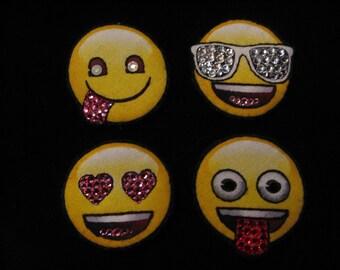 SWAROVSKI EMOJI PINS--Swarovski Crystal-Wearable Magnetic-Choose Your Emotion-Wear on Anything-Sunglasses, Heart Eyes, Pink & Red Tongue