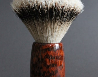 Spectacular and rare silvertip badger shaving brush with Suriname snakewood and African black rosewood