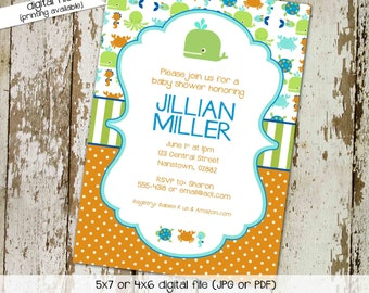 gender reveal invitation Whale baby shower under the sea boy diaper wipes nautical turtle octopus ocean fish neutral | 12104 Katiedid cards