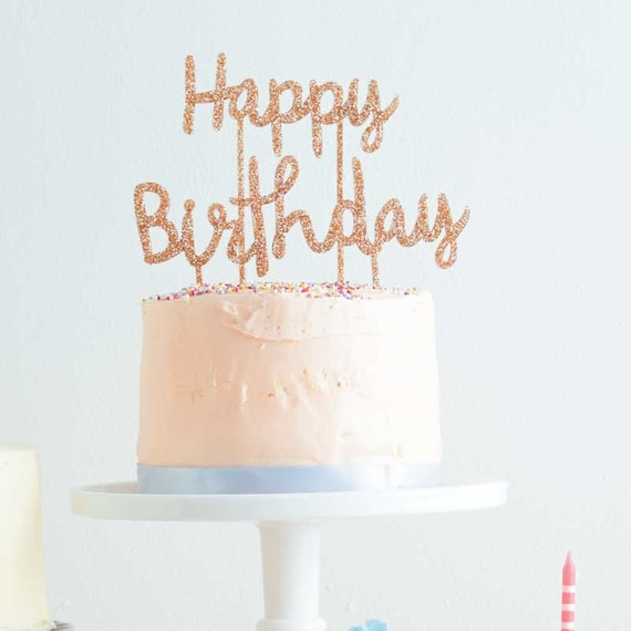 Happy Birthday Cake Topper by Meri Meri Gold Glitter Cake Topper