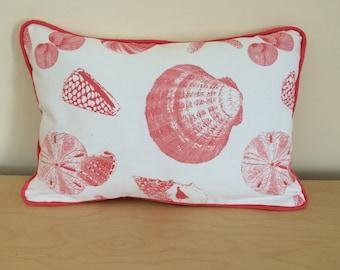 SALE, Coral Shells Pillow Cover, 12''x18'' Beach Decor Pillow Cover, Decorative Shells Pillow Cover