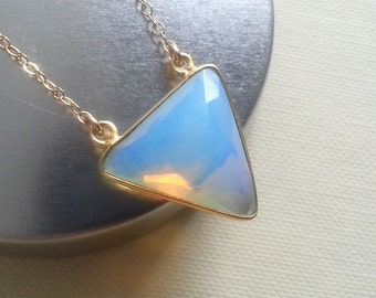 Chalcedony Necklace, Triangle Necklace, Geo Jewelry, Opal Chalcedony Triangle Pendant, Layering Layered, Gold Filled, Christmas Gift