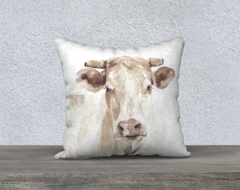 Cow Watercolor Linen Pillow Cover / Farm Decor / Farmhouse Pillow / Home Decor / Decorative Pillow / Farm Cow Pillow / gift for her