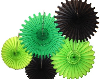 Black Green Party Tissue Paper Fan Collection (5 fans, 13-18 inches) - Black, Green, Lime