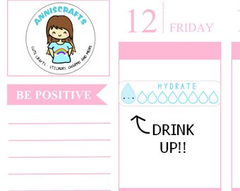 50+ Hydrate Stickers Planner Stickers Happy Planner Kawaii Stickers, Drink Up, Health Stickers,  H2O Water Intake Stickers AC11