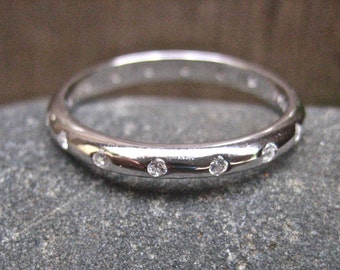 Vintage 925 Sterling Silver and CZ Stacking Ring
