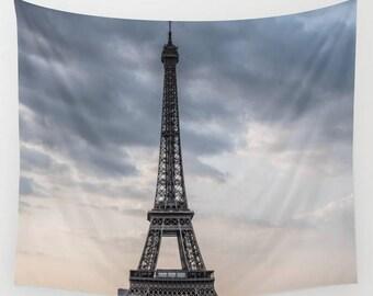 Paris Wall Tapestry, Eiffel Tower Wall Art, Dreamy Eiffel Tower Photo Tapestry, Living Room Wall Art, Paris Photography, Travel Art